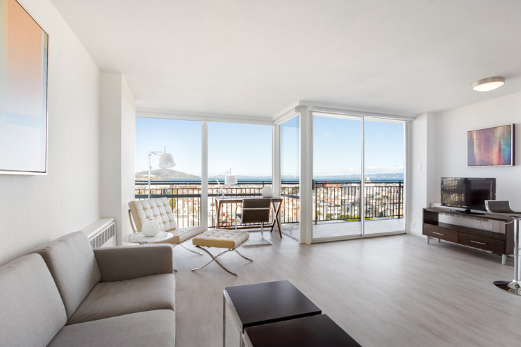Renovated Furnished 1 Bed, 1 Bath Corner at Crystal Tower Apartments